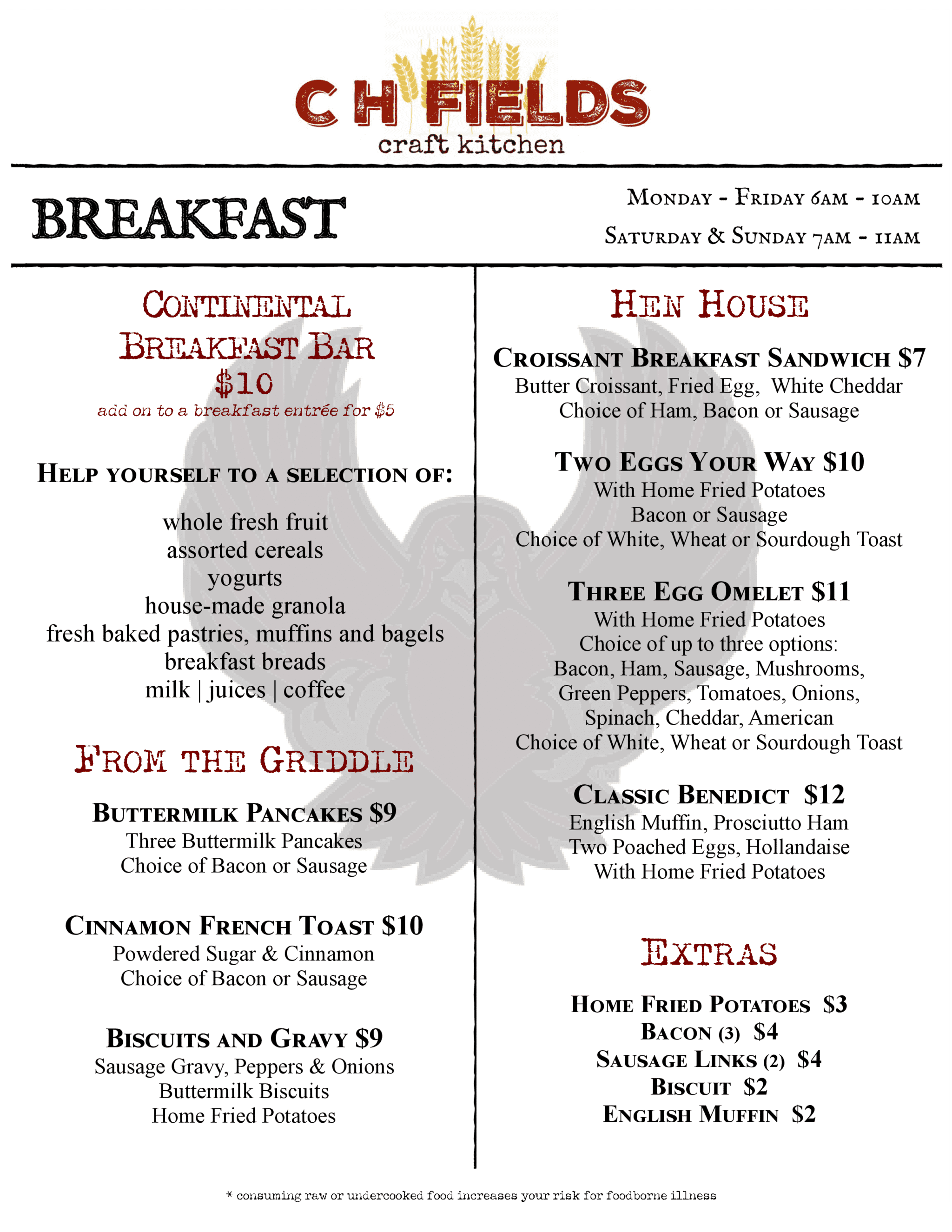 CH Fields Breakfast Menu
