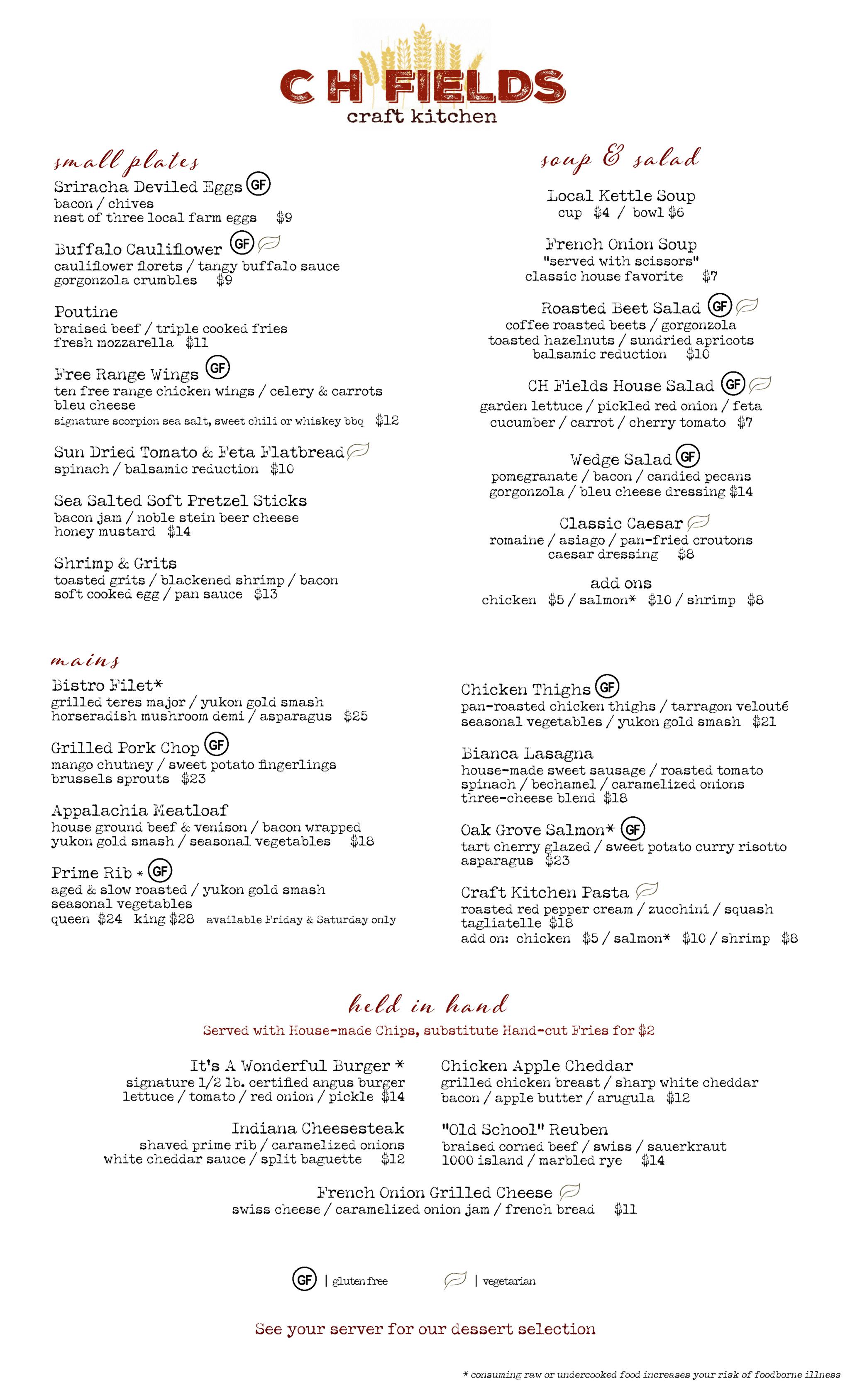 Ch Fields Fall dinner menu
