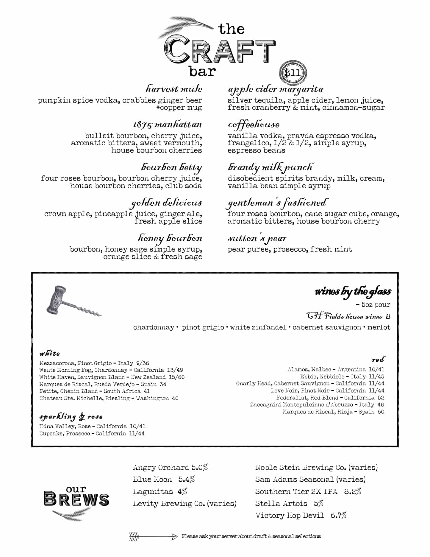 CH Fields Craft Bar Menu January 2021