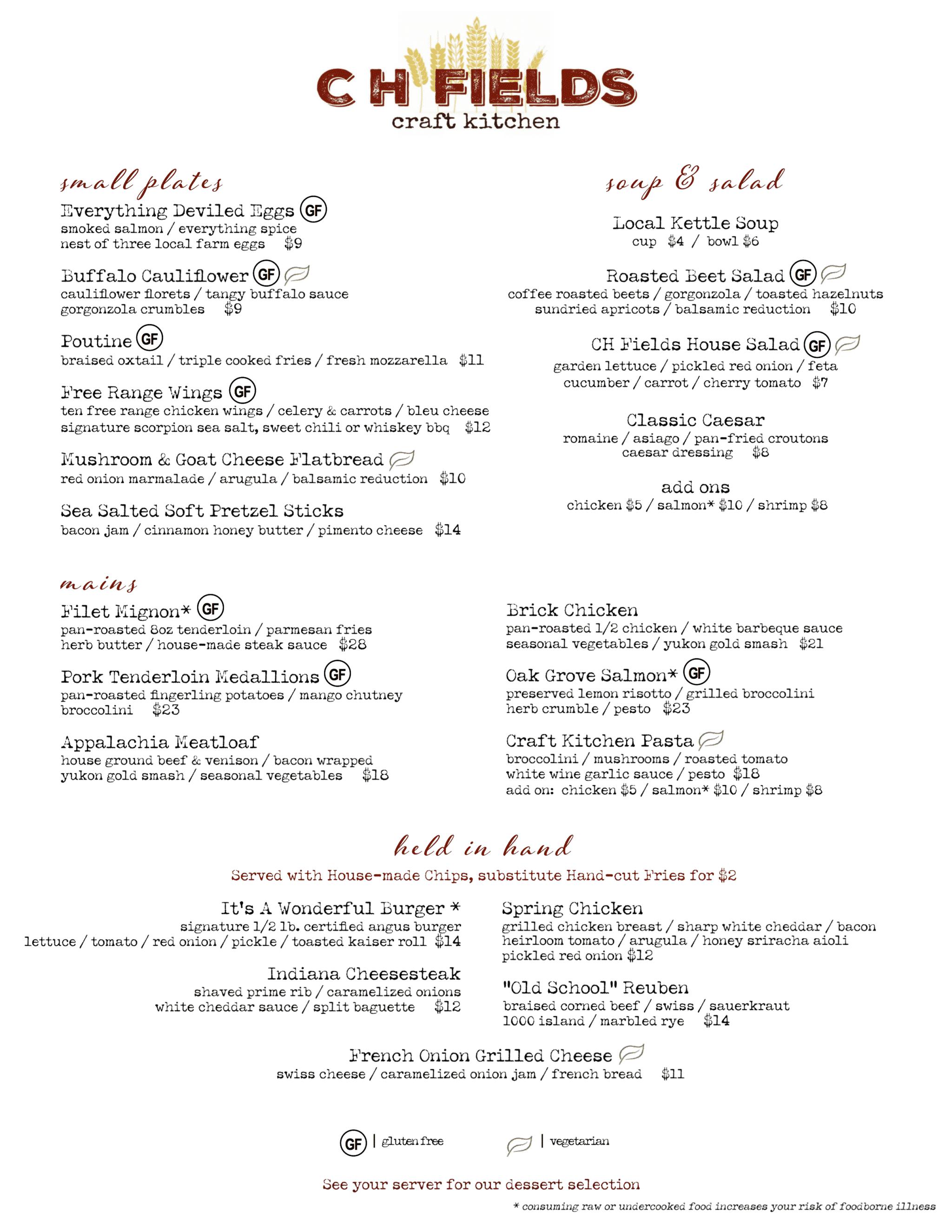 CH Fields Dinner Menu